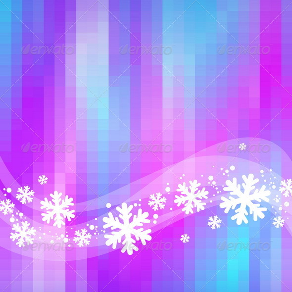 Graphic River Winter Abstract Background Snowflakes and Waves Vectors -  Conceptual  Seasons/Holidays 863024