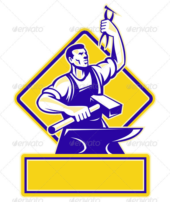 Graphic River Blacksmith Holding Hammer with Anvil Vectors -  Characters  People 863050
