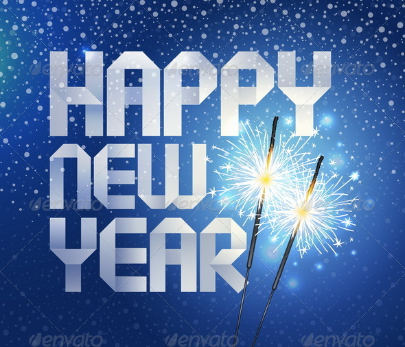 Graphic River New Years Paper Greeting And Sparklers Vectors -  Conceptual  Seasons/Holidays 863104