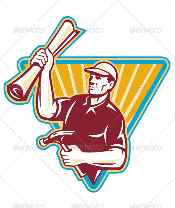 Graphic River Carpenter Holding a Building Plan and Hammer  Vectors -  Characters  People 863105