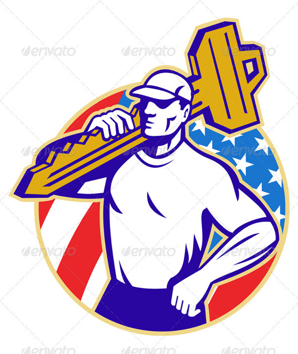 Graphic River Locksmith Holding Key With American Flag Vectors -  Characters  People 863107