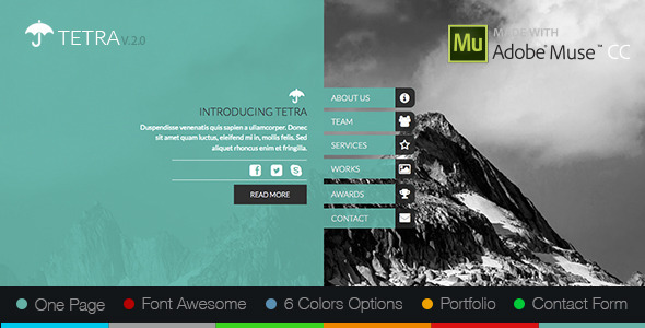 adobe muse mobile templates - tetra adobe muse template by zacomic themeforest