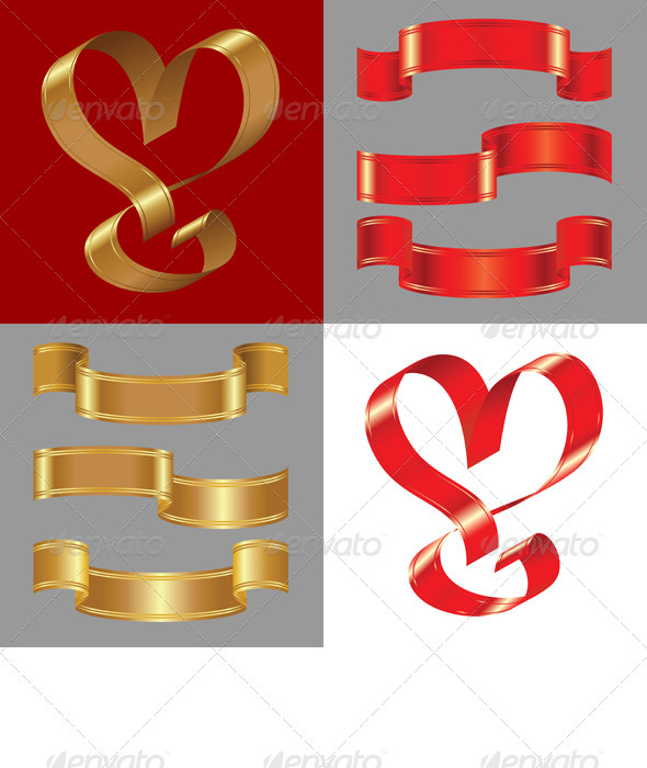 Graphic River Vector Set of the Shiny Gold and Red Ribbons Vectors -  Decorative  Decorative Symbols 866958