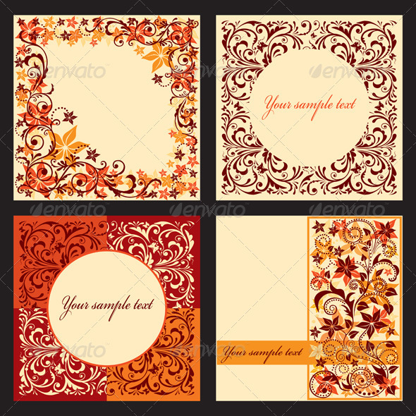 Graphic River Vector set of autumn cards with a floral pattern  Vectors -  Decorative  Borders 867785