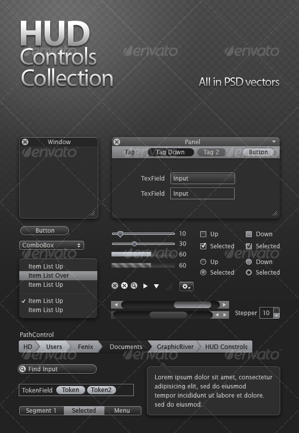 GraphicRiver HUD Controls Collection 36628