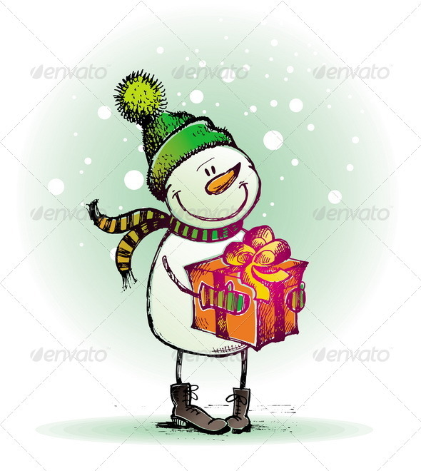 Graphic River Hand Drawn Snowman With Gift  Vectors -  Conceptual  Seasons/Holidays  Christmas 879789