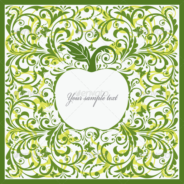 Graphic River Beautiful Card with Apple. Vectors -  Decorative  Patterns 881634