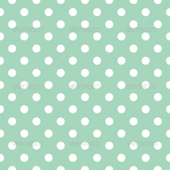Tile pattern with white polka dots on pastel mint green ...