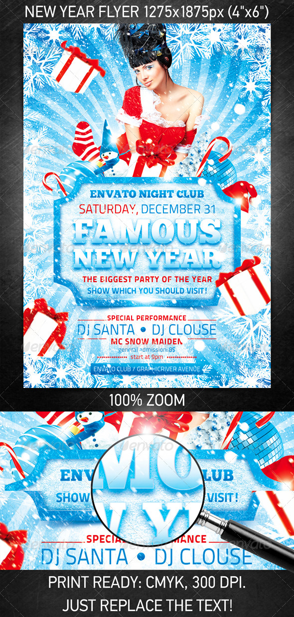 Graphic River Famous New Year flyer Print Templates -  Flyers  Events  Clubs & Parties 890227