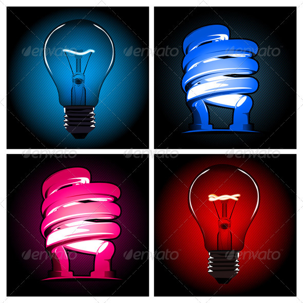 Graphic River Bulb Lamp Set  Vectors -  Objects  Man-made objects 891568