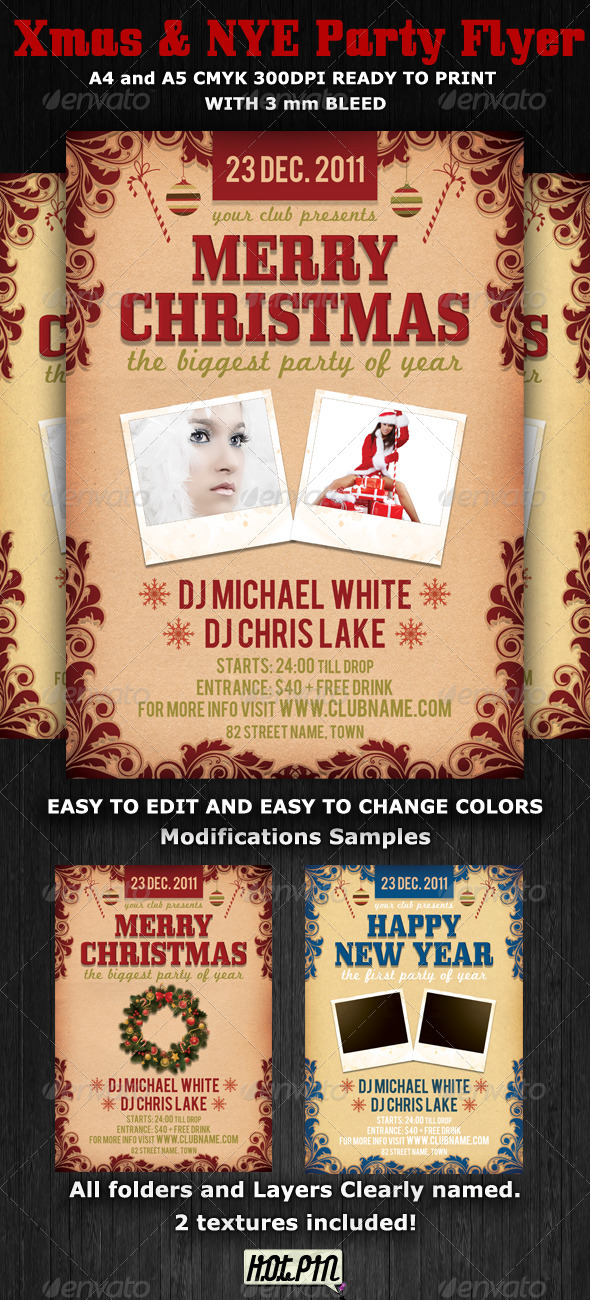 Graphic River Christmas and Nye Party Flyer Template Print Templates -  Flyers  Events  Clubs & Parties 899764