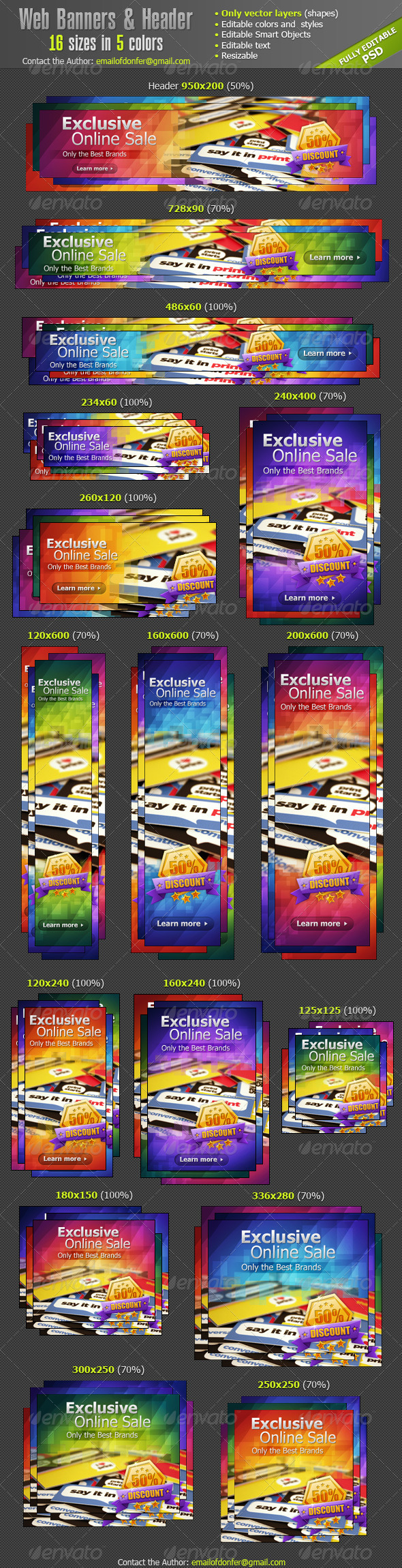 Graphic River Web Banners Ads & Website Header Web Elements -  Banners & Ads 908702