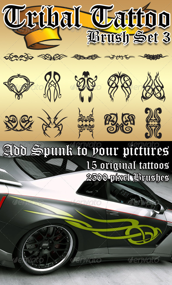 Graphic River Tribal Tattoo Brush Set 3 Add-ons -  Photoshop  Brushes  Grunge 902567