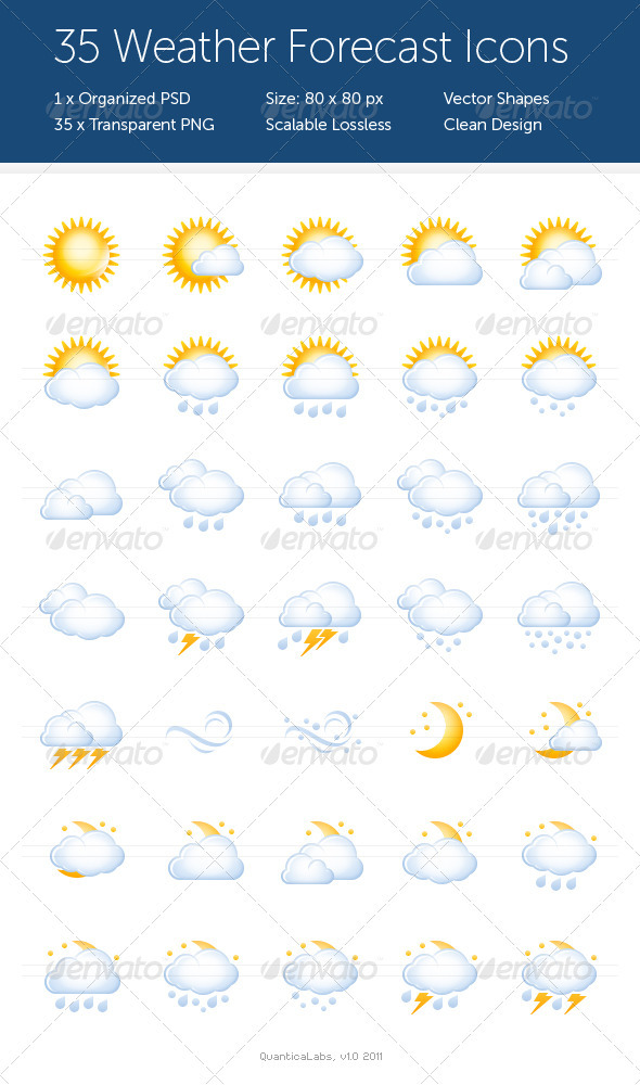 Graphic River 35 Weather Forecast Icons Icons -  Web 909404
