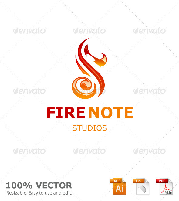 Graphic River Fire Note Studios Logo Templates -  Letters 910741