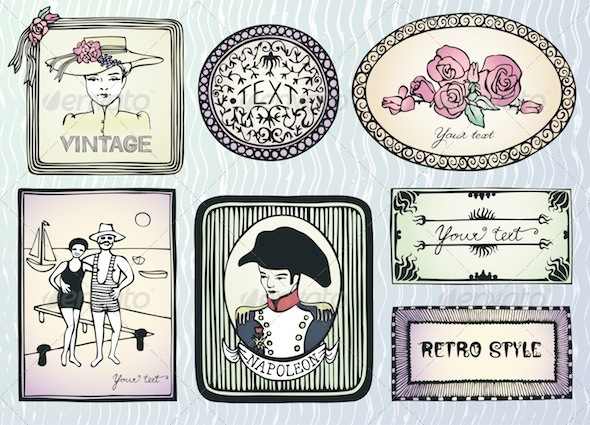Graphic River Doodle Retro Labels Vectors -  Objects 912600