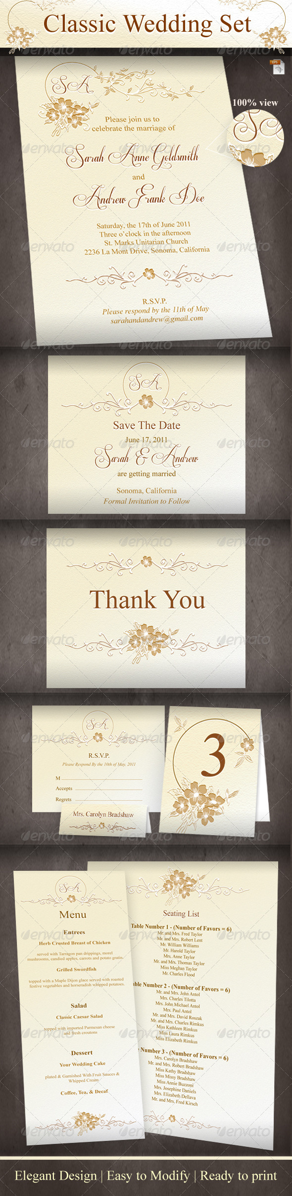 Graphic River Classic Wedding Set Print Templates -  Cards & Invites  Weddings 864756