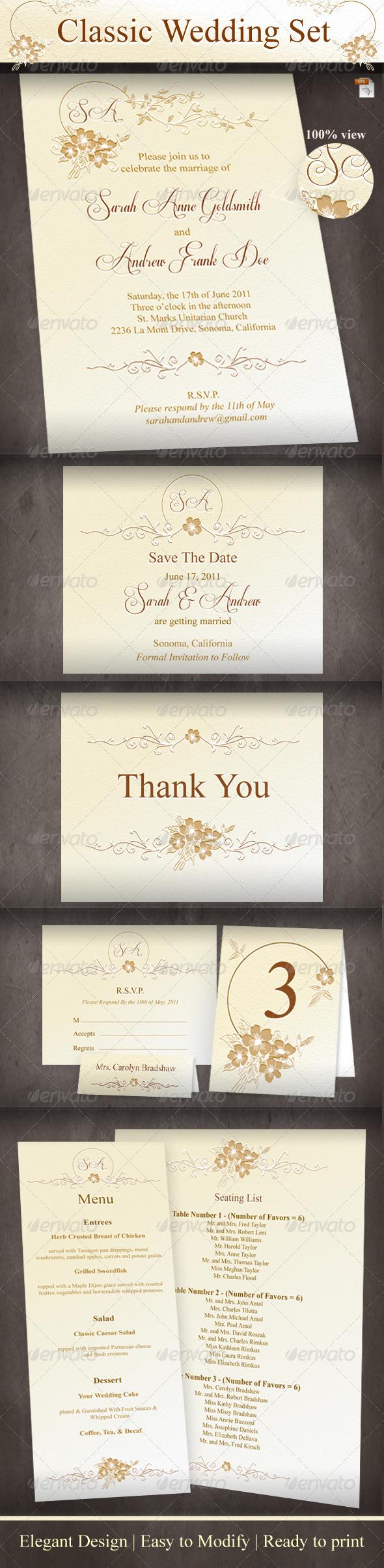 Graphic River Classic Wedding Set Print Templates -  Cards & Invites  Weddings 864756