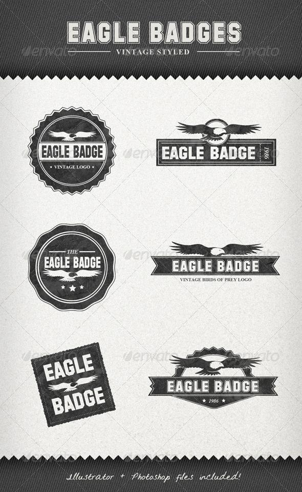 Graphic River Eagle Badges ЁC Vintage Style Labels Web Elements -  Badges & Stickers 908343