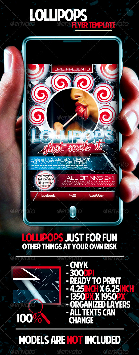 Graphic River Lollipops Flyer Template Print Templates -  Flyers  Events  Clubs & Parties 924138