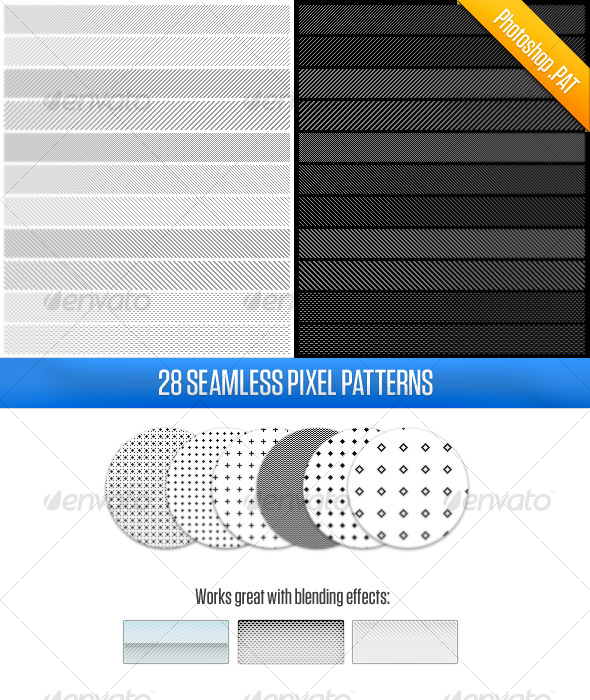 GraphicRiver 28 Pixel Patterns 117197