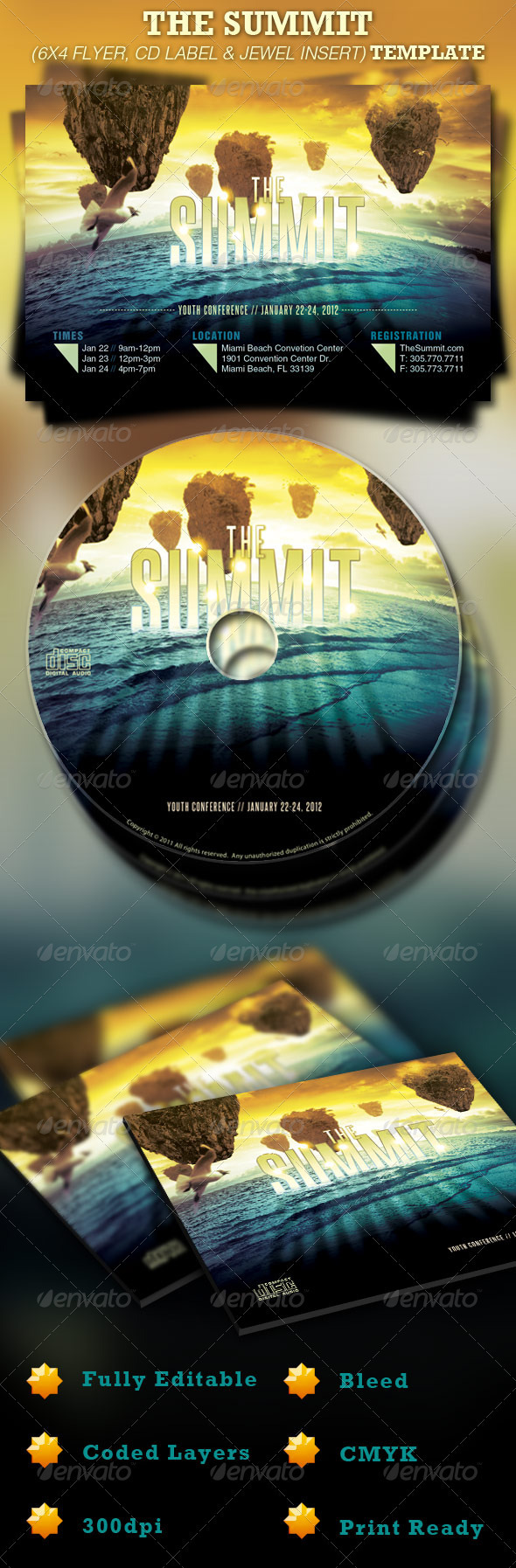 Graphic River The Summit Church 6x4 Flyer and CD Template Print Templates -  Flyers  Church 925630
