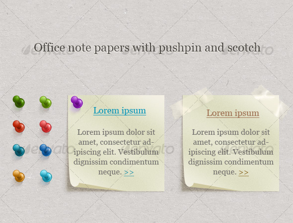 GraphicRiver Office Note Papers With Pushpin and Scotch 117425