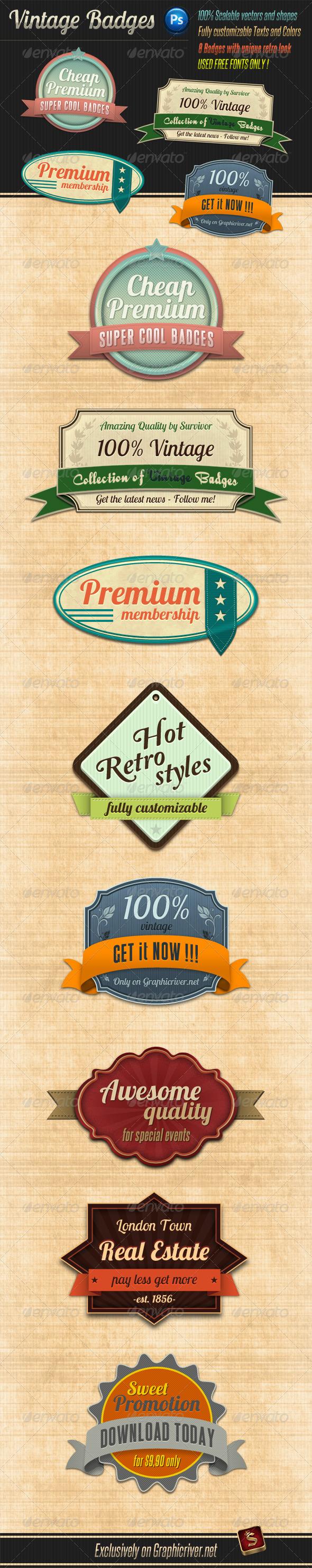 Graphic River Retro Vintage Badges Web Elements -  Badges & Stickers 928659