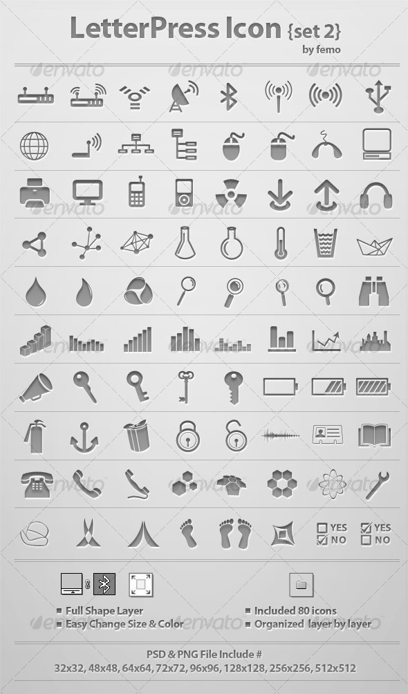 GraphicRiver Letterpress Icon {Set 2} 117631