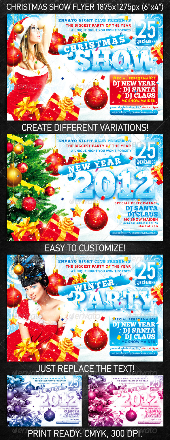 Graphic River Christmas Show Flyer Print Templates -  Flyers  Events  Clubs & Parties 927900
