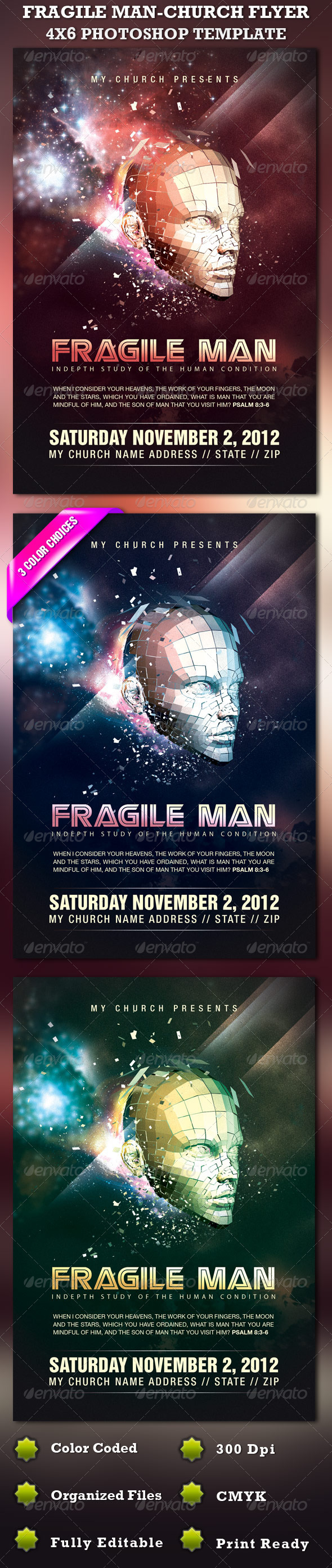 GraphicRiver Fragile Man-Church Flyer Template 644635