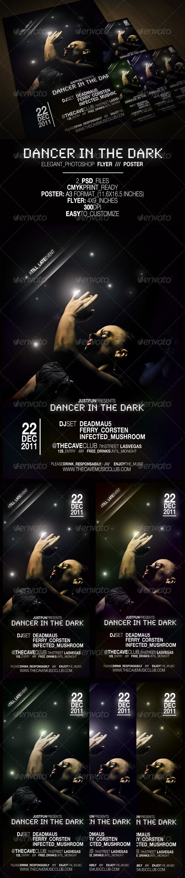 Graphic River Dancer in the Dark Poster & Flyer Print Templates -  Flyers  Events  Clubs & Parties 942769