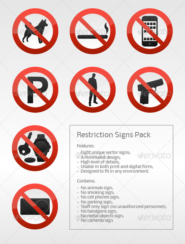 Graphic River Restriction Signs Pack Vectors -  Miscellaneous 943038