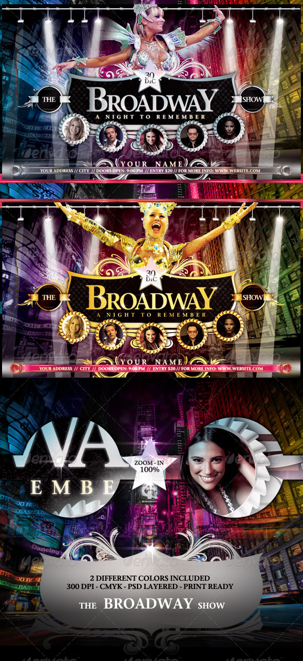 Graphic River The Broadway Show Flyer Template Print Templates -  Flyers  Events  Clubs & Parties 944028