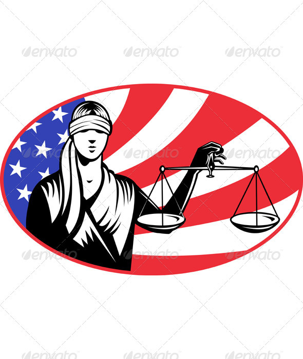 Graphic River Lady Carrying Scales of Justice With American Flag Vectors -  Conceptual 946311