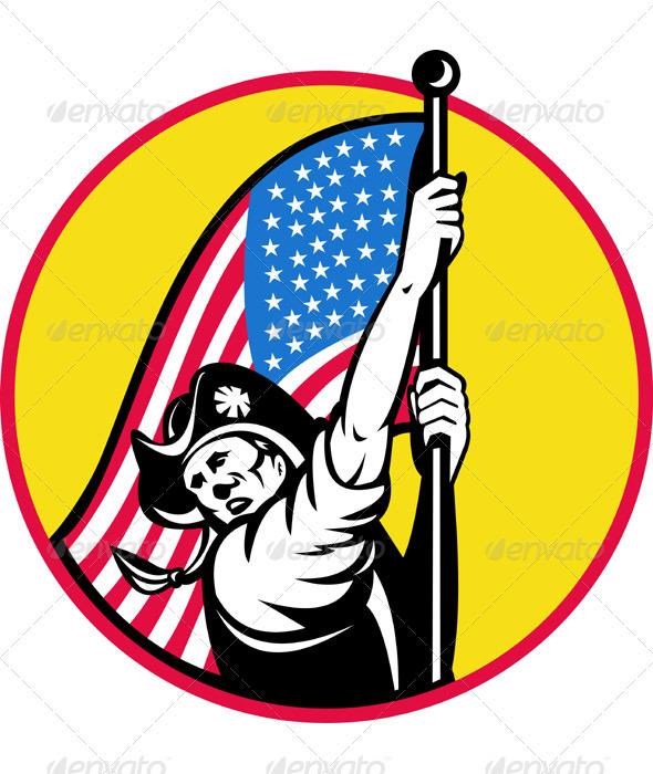 Graphic River American Minuteman Revolution Militia With Flag Vectors -  Conceptual  Seasons/Holidays  Miscellaneous 946345