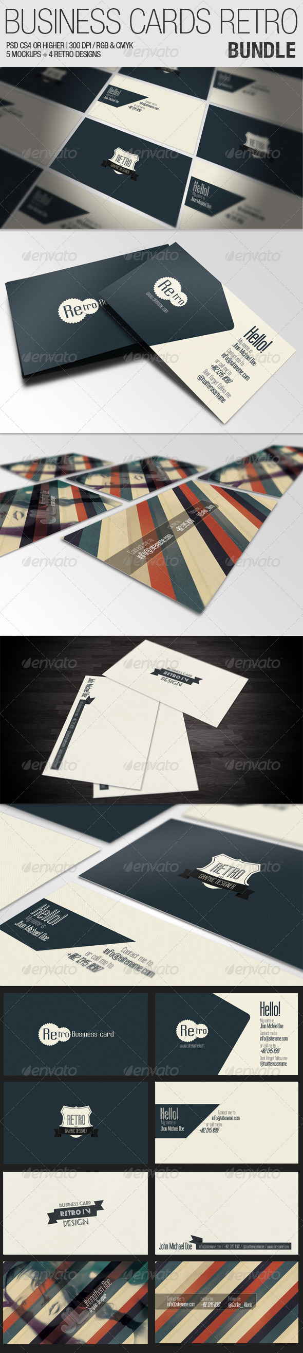 Graphic River Business Cards Retro Bundle Graphics -  Product Mock-Ups 946370