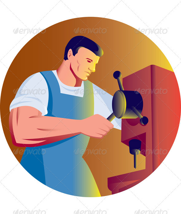 Graphic River Machinist Factory Worker Operating Drill Press Vectors -  Conceptual  Business  Industries 946681