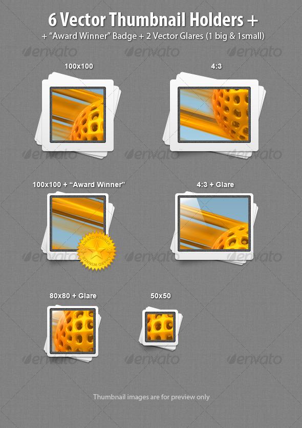 Graphic River 6 Vector Thumbnail Holders Web Elements -  Miscellaneous 119128