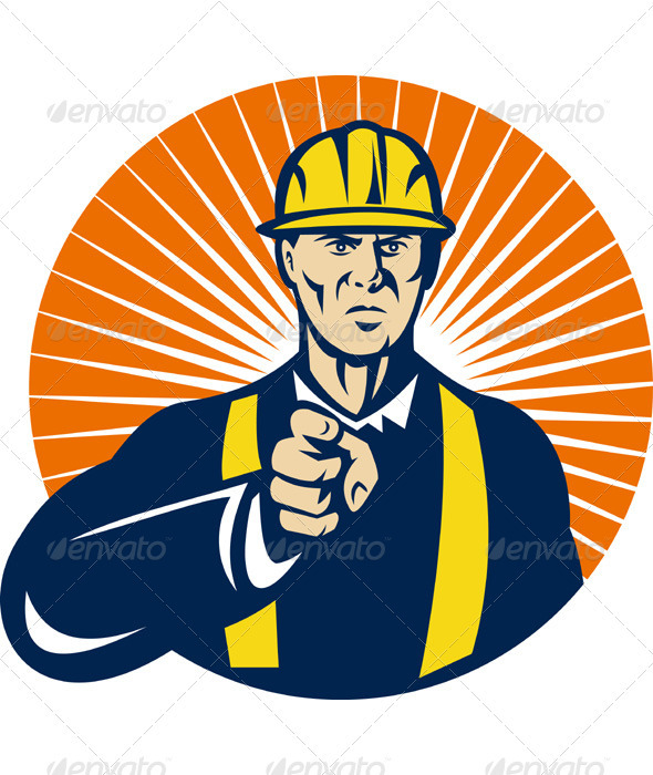 Graphic River Construction Foreman Engineer Pointing Finger Vectors -  Conceptual  Business  Industries 947605