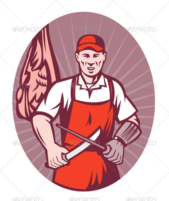 Graphic River Butcher Sharpening Knife with Meat Retro Style Vectors -  Conceptual  Business  Industries 947634