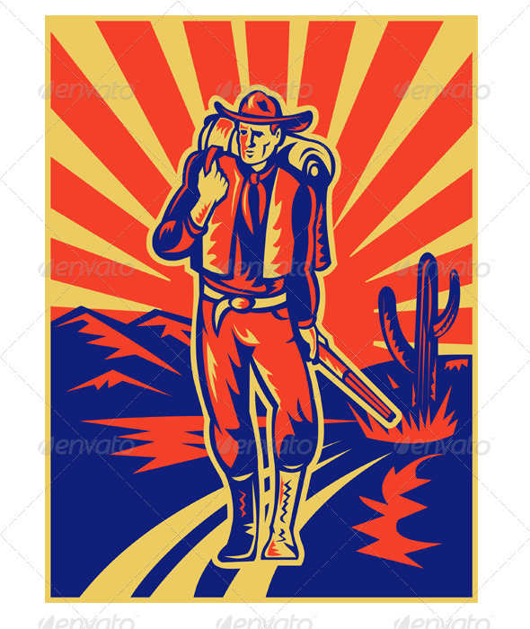 Graphic River Cowboy With Backpack and Rifle Retro Style Vectors -  Characters  People 948325
