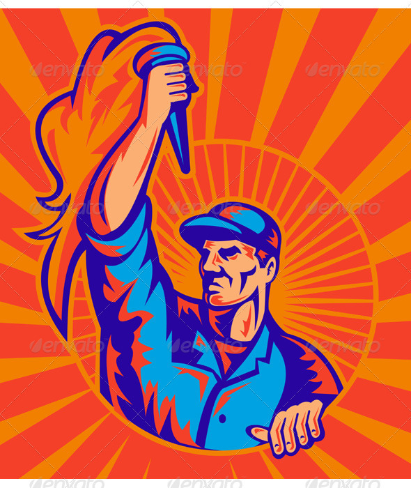 Graphic River Factory Worker Carrying A Flaming Torch Vectors -  Characters  People 948328