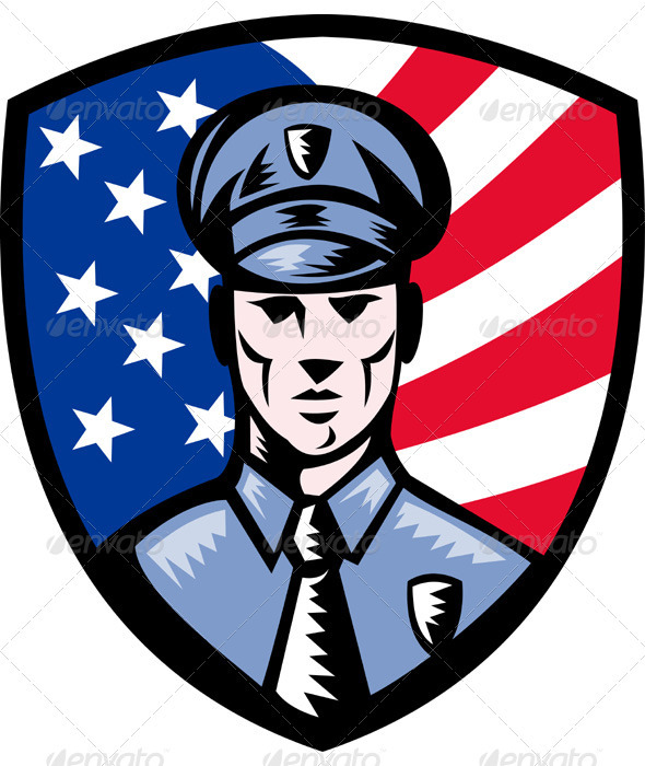 Graphic River Security Guard Policeman Officer With Shield Vectors -  Characters  People 949807