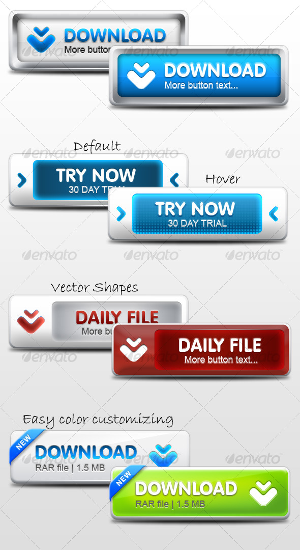 GraphicRiver Modern Web Buttons 119656