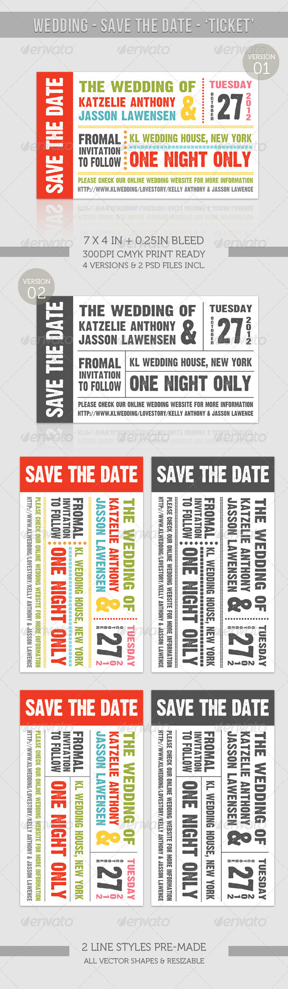 GraphicRiver Wedding Save The Date Ticket 957976