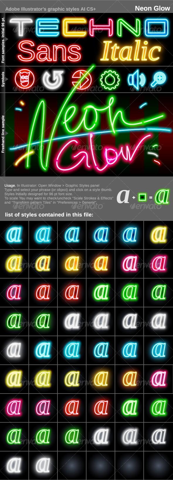 GraphicRiver Illustrator Graphic Styles Neon Glow 121050