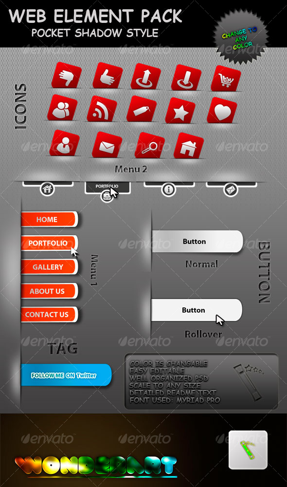 GraphicRiver Web elements Pocket Shadow Style 121184