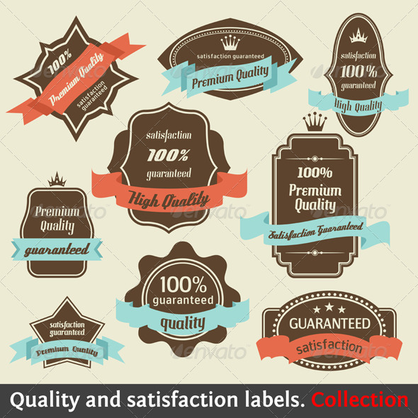 GraphicRiver Vintage Premium Quality and Satisfaction Labels 965765