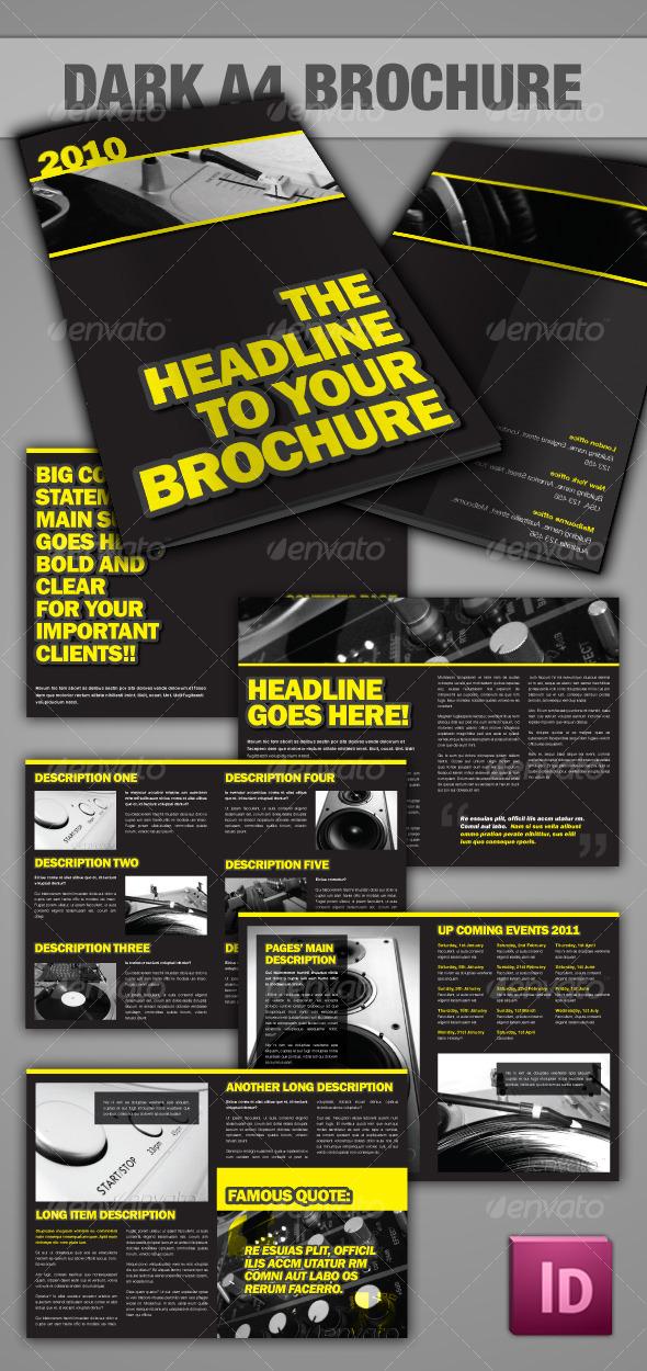 GraphicRiver Dark A4 Brochure InDesign 121405